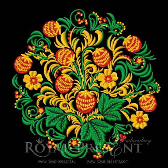 Дизайн машинной вышивки Клубника Орнамент хохлома
