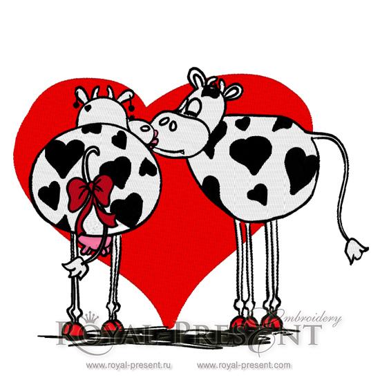 Дизайн машинной вышивки Влюбленные коровы