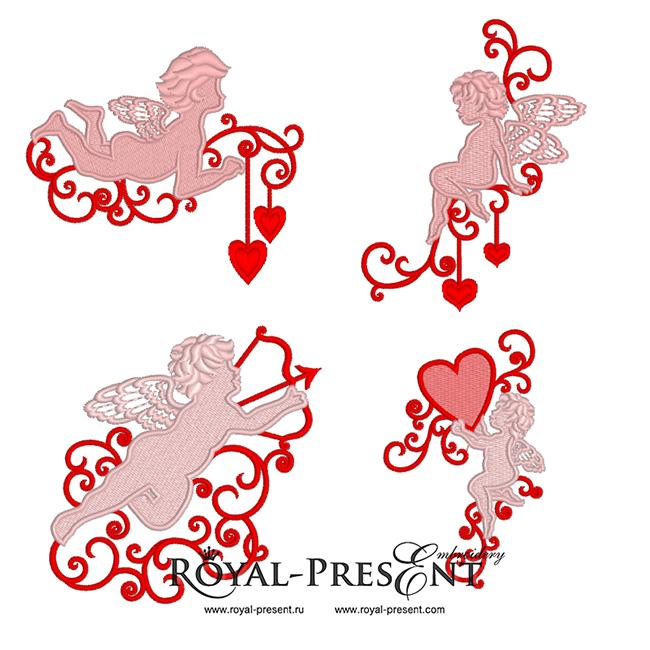 4 дизайна машинной вышивки Купидоны с сердечками RPE-974