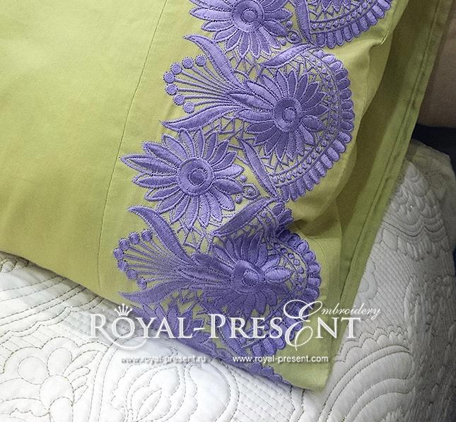 Дизайн машинной вышивки Ажурный сиреневый бордюр RPE-976