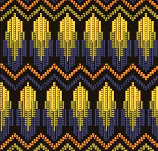Дизайн машинной вышивки Графика в стиле барджелло RPE-359