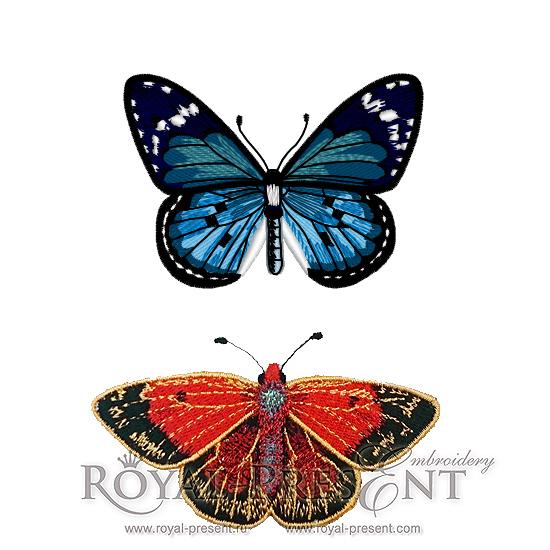 Набор дизайнов для машинной вышивки Две бабочки RPE-311-01