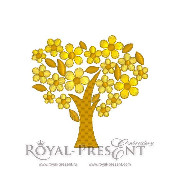 Дизайн для машинной вышивки бесплатно Золотое дерево удачи RPE-634