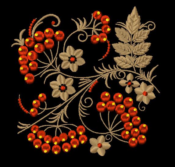 Дизайн машинной вышивки - Орнамент в стиле хохлома - Рябина