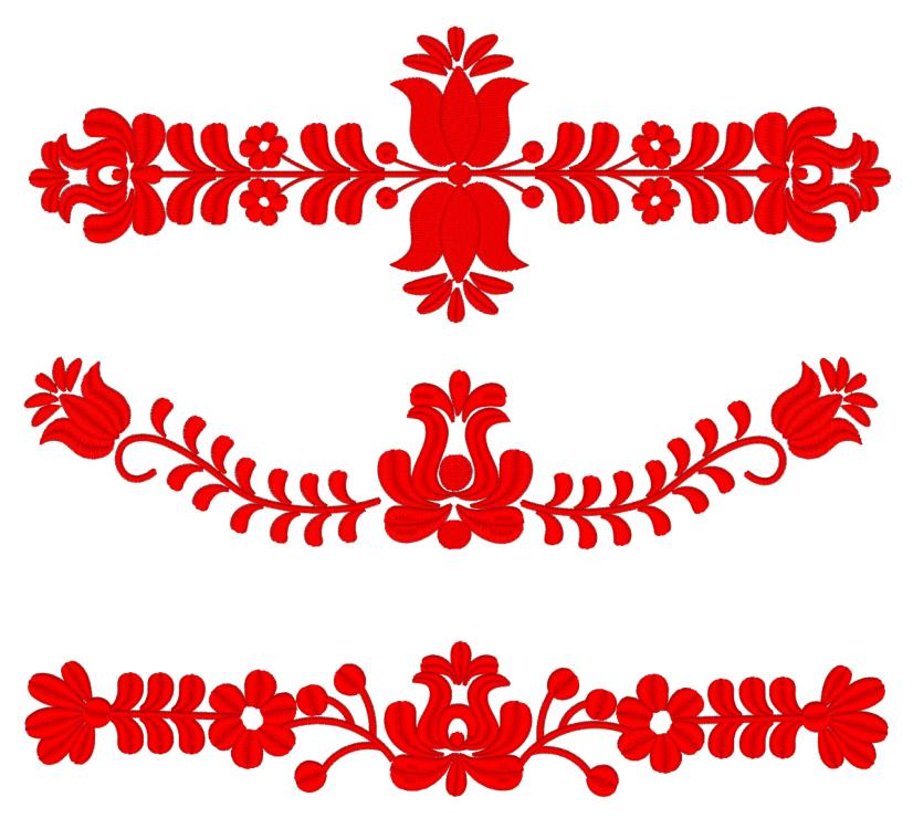 Набор дизайнов машинной вышивки Венгерский красный узор - 4 размера