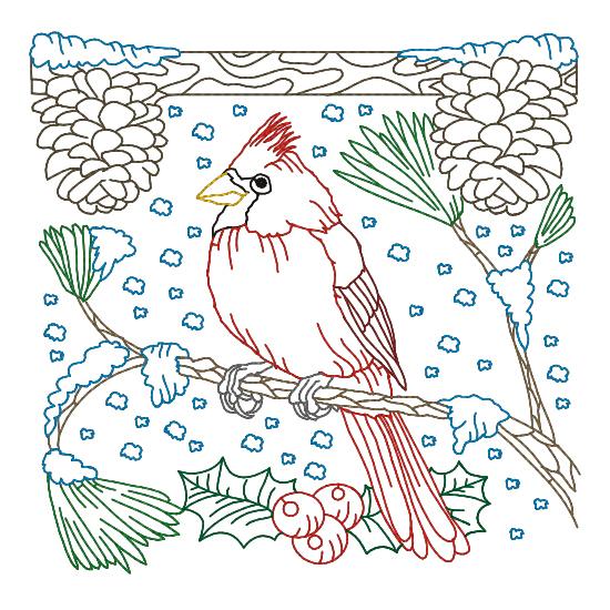 Дизайн машинной вышивки бесплатно Снегирь