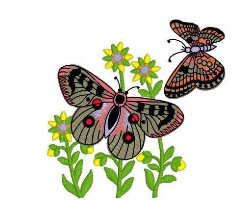 Дизайн машинной вышивки бесплатно Бабочки RPE-819
