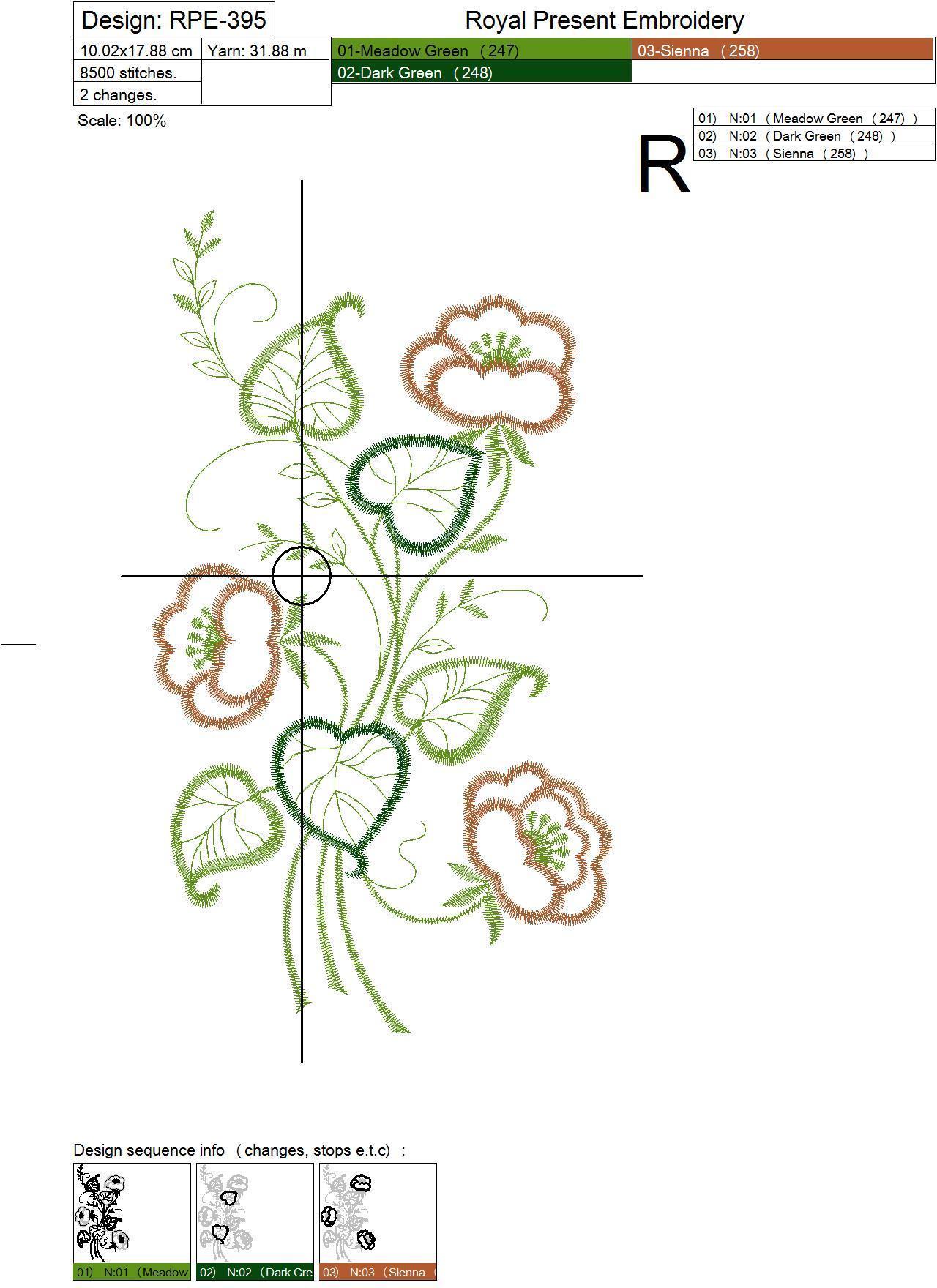 Дизайн машинной вышивки бесплатно Контурные цветы