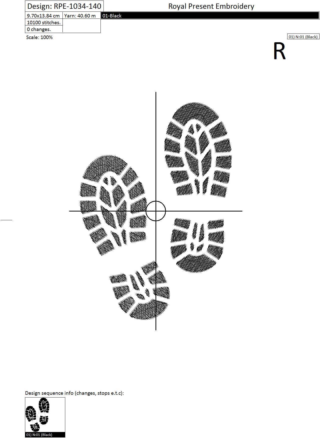 Дизайн машинной вышивки бесплатно Следы от ботинок - 4 размера