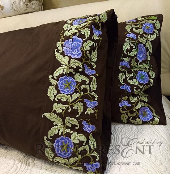 Дизайн машинной вышивки Цветочный бордюр с сиреневыми цветами - 3 размера RPE-107