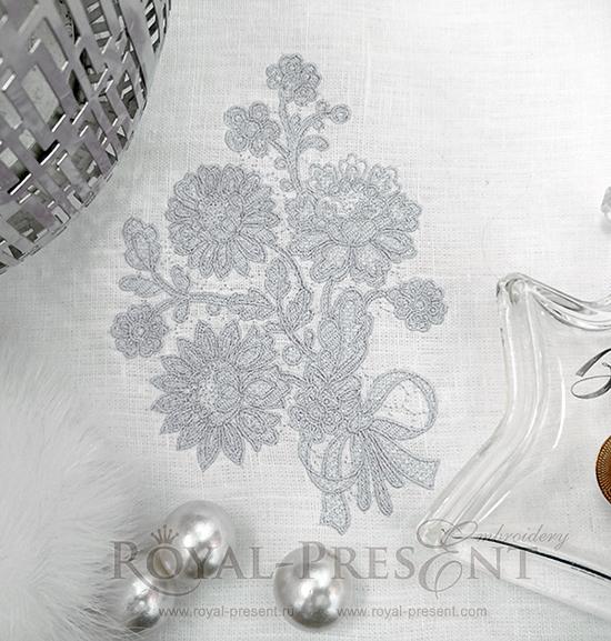 Дизайн машинной вышивки Кружевной букет - 4 размера RPE-1058