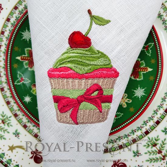 Дизайн машинной вышивки Рождественский кекс