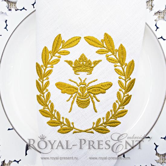 Дизайн машинной вышивки Королевская Пчела Наполеона - 2 размера RPE-062