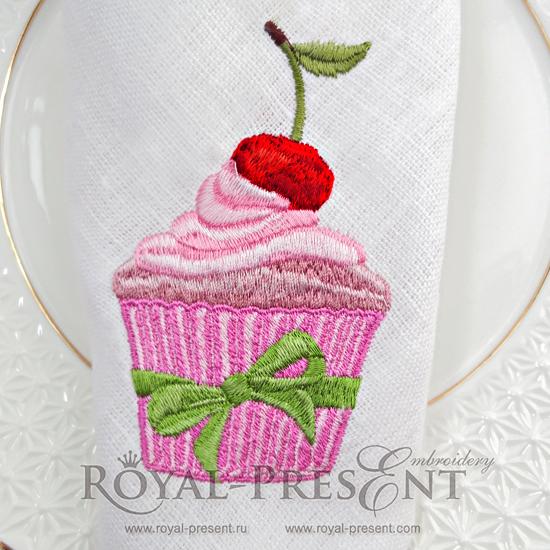 Дизайн машинной вышивки Вишневый кекс