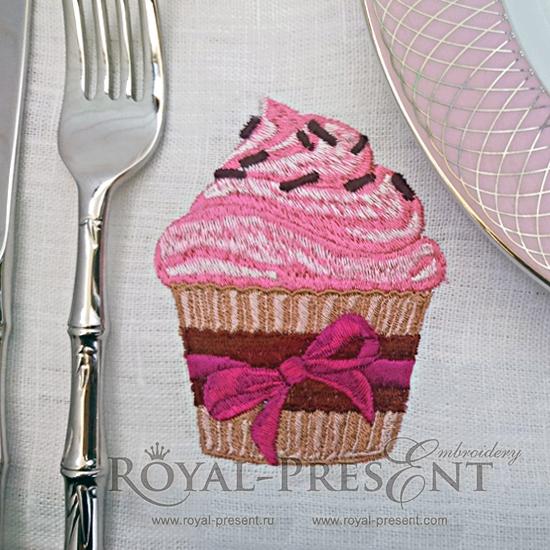 Дизайн машинной вышивки Розовый кекс