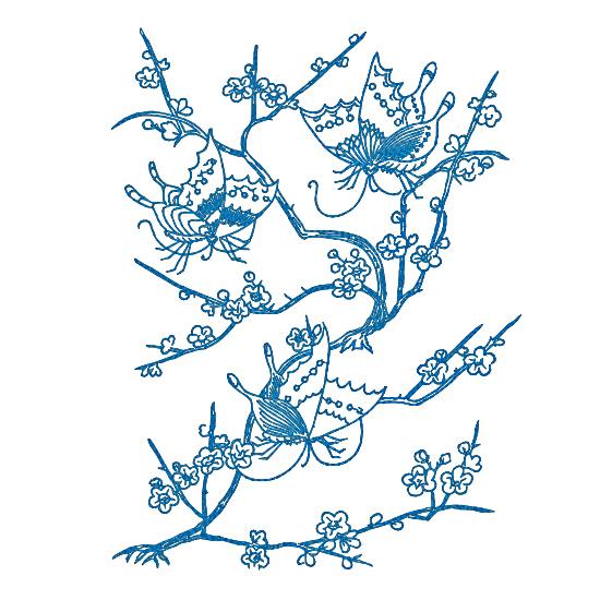 Дизайн машинной вышивки Весенние бабочки - 4 размера RPE-068