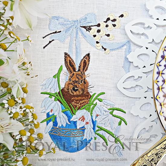Дизайн машинной вышивки Пасхальный Кролик - 3 размера