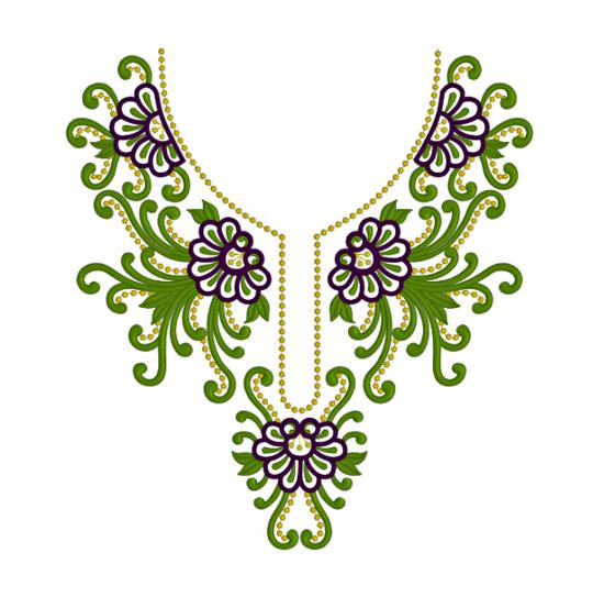 Дизайн для машинной вышивки - Горловина с зеленым RPE-524