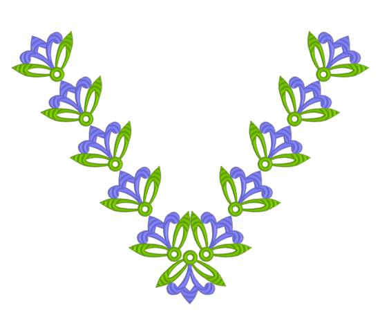 Дизайн для машинной вышивки  Горловина с абстрактными цветами RPE-173