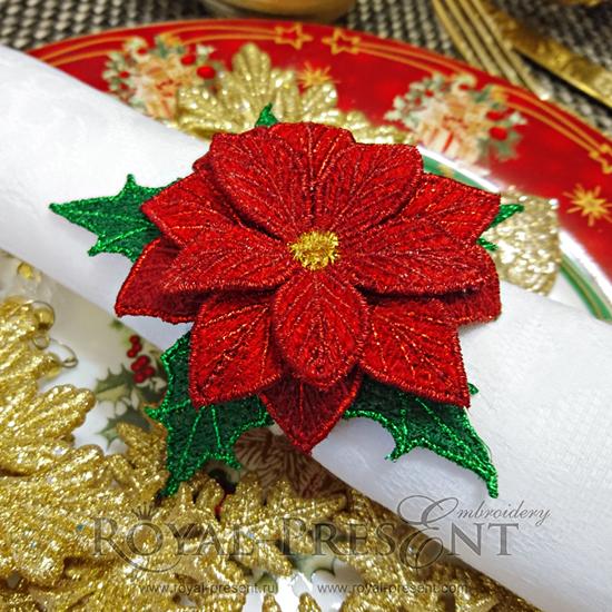Дизайн машинной вышивки для салфеток FSL кольцо-держатель Рождественская звезда RPE-1081