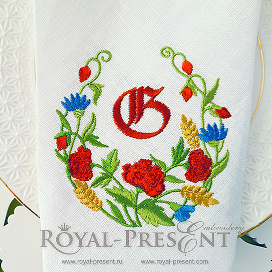 Бесплатный Дизайн машинной вышивки Летние цветы RPE-347