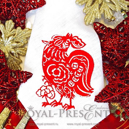 Дизайн машинной вышивки Петух в китайском стиле RPE-155