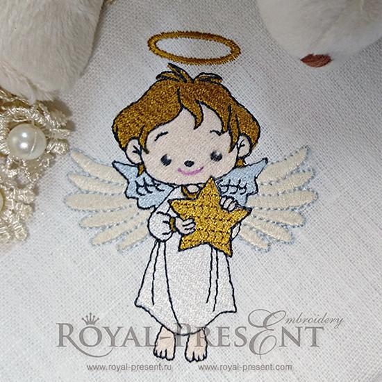 Схема для машинной вышивки - Рождественский Ангел со звездой - 3 размера RPE-035
