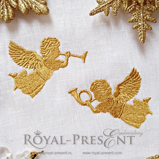 Рождественские Ангелы Дизайны машинной вышивки RPE-921
