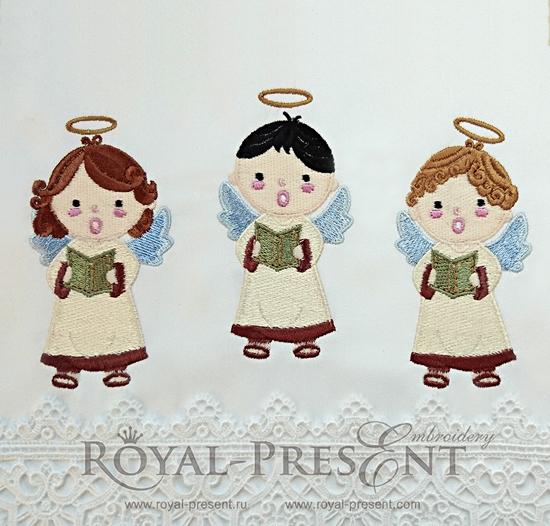 Три дизайна машинной вышивки Рождественские Ангелы RPE-800