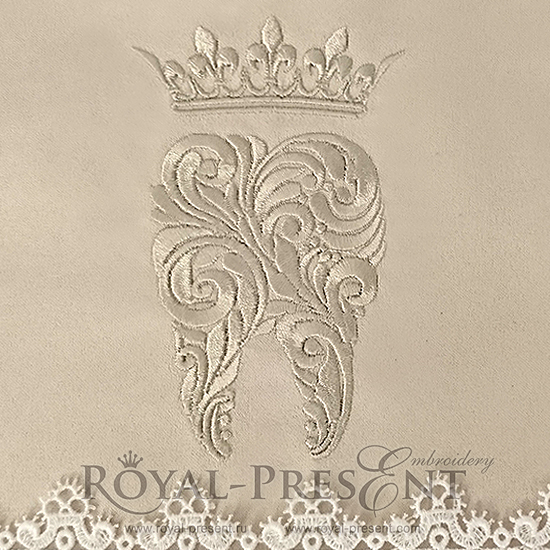 Дизайн машинной вышивки Зуб с короной - 3 размера RPE-981