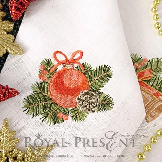 Дизайн машинной вышивки Винтажный новогодний шар - 2 размера