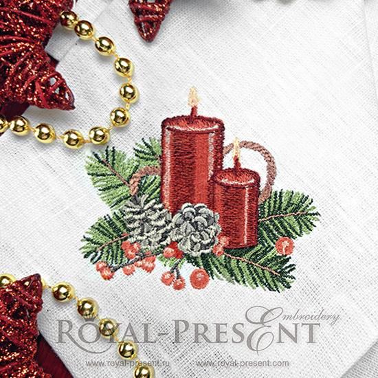 Дизайн машинной вышивки Винтажные новогодние свечи - 3 размера
