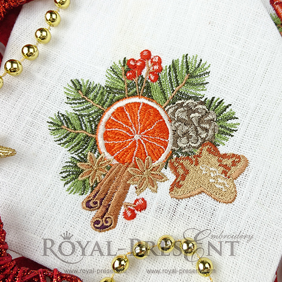 Дизайн машинной вышивки Винтажная новогодняя композиция с апельсином - 2 размера