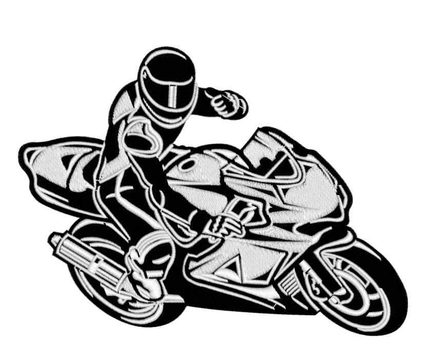 Дизайн машинной вышивки Мотоциклист - 2 размера RPE-1087