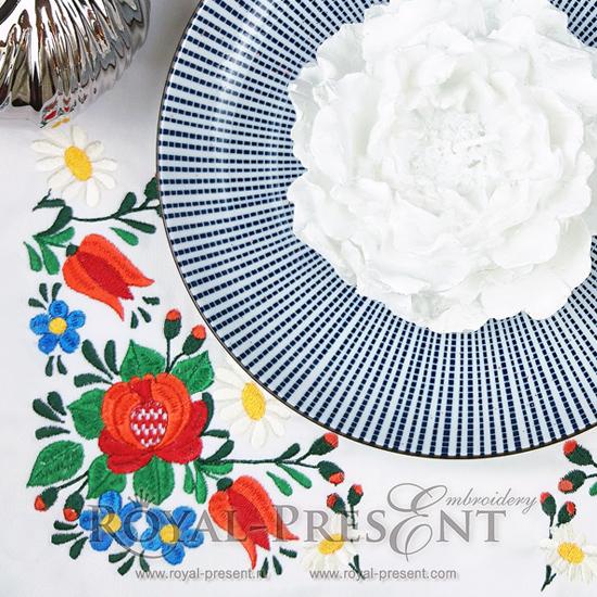 Дизайн машинной вышивки Венгерский цветочный узор - 2 размера