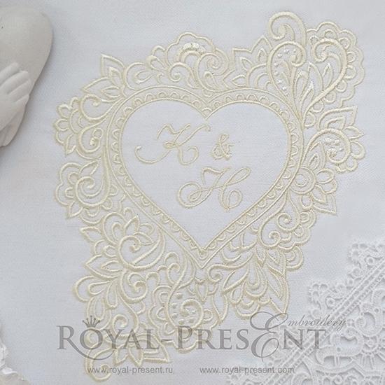 Дизайн машинной вышивки Рамка для монограммы Сердце - 2 размера