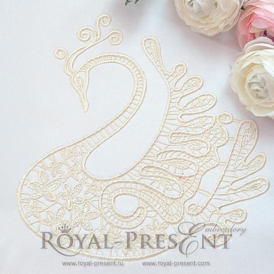 Дизайн машинной вышивки Ажурный свадебный лебедь - 2 размера RPE-1092