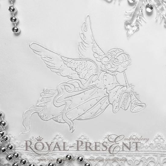 Дизайн машинной вышивки Рождественский Ангел - 3 размера RPE-704