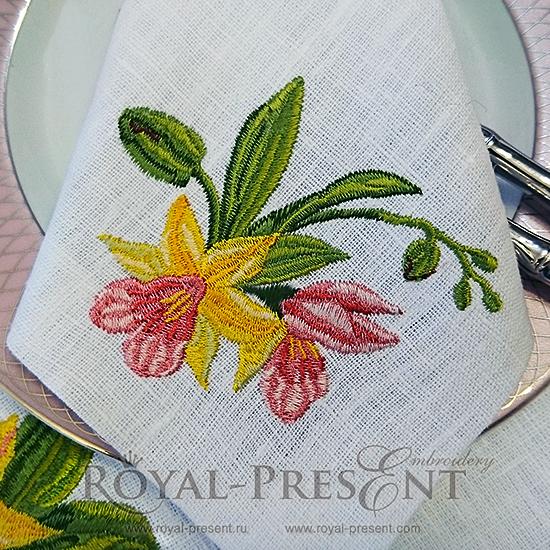 Дизайн машинной вышивки Букетик орхидей RPE-321