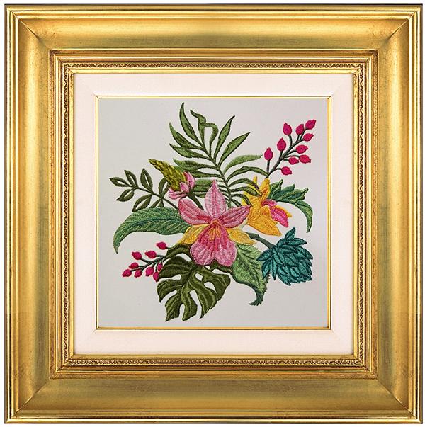 Дизайн машинной вышивки Тропический букет с орхидеями RPE-838