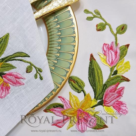 Дизайн машинной вышивки Тропические орхидеи RPE-761