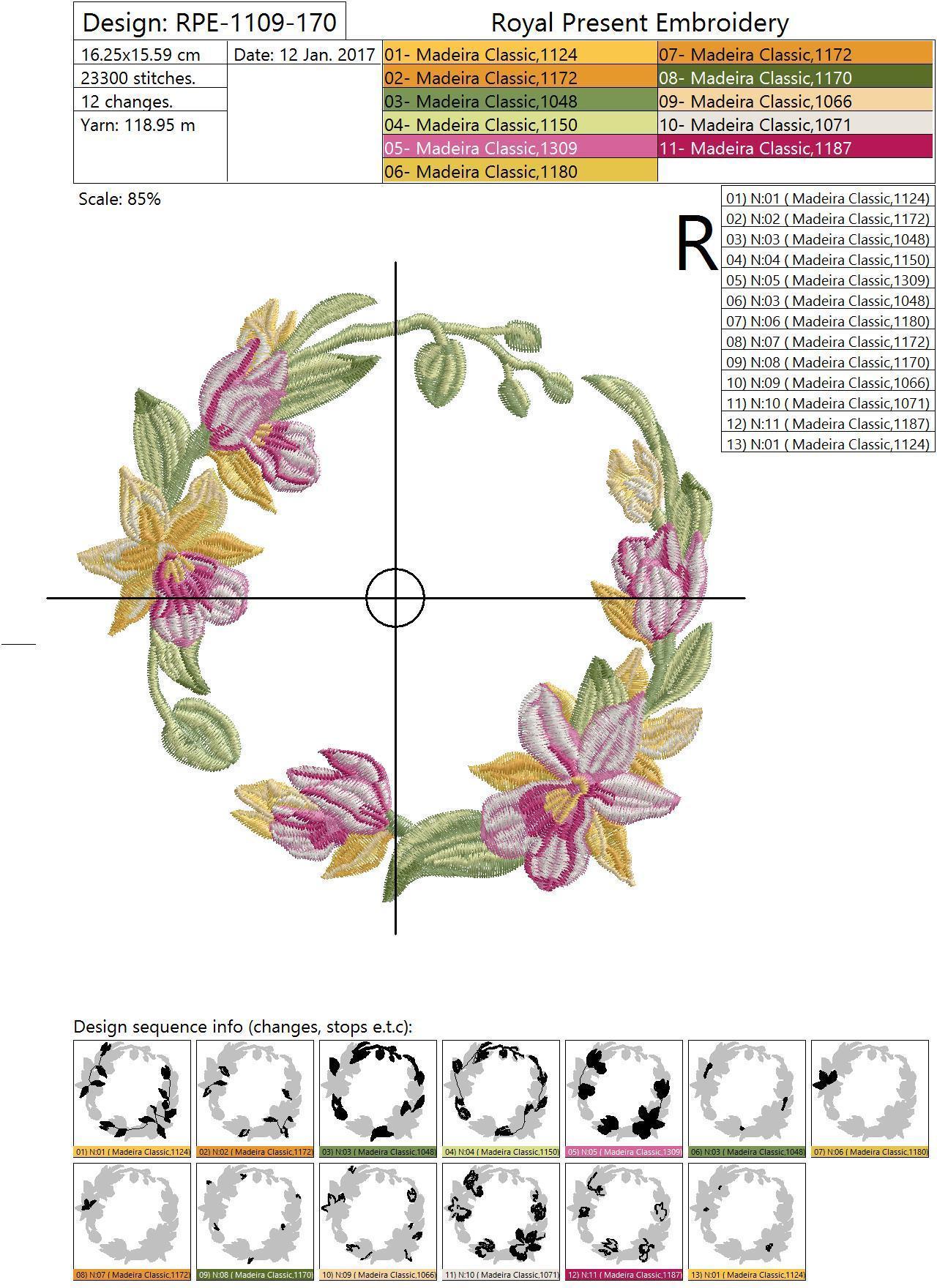 Дизайн машинной вышивки Тропические орхидеи - 4 в 1