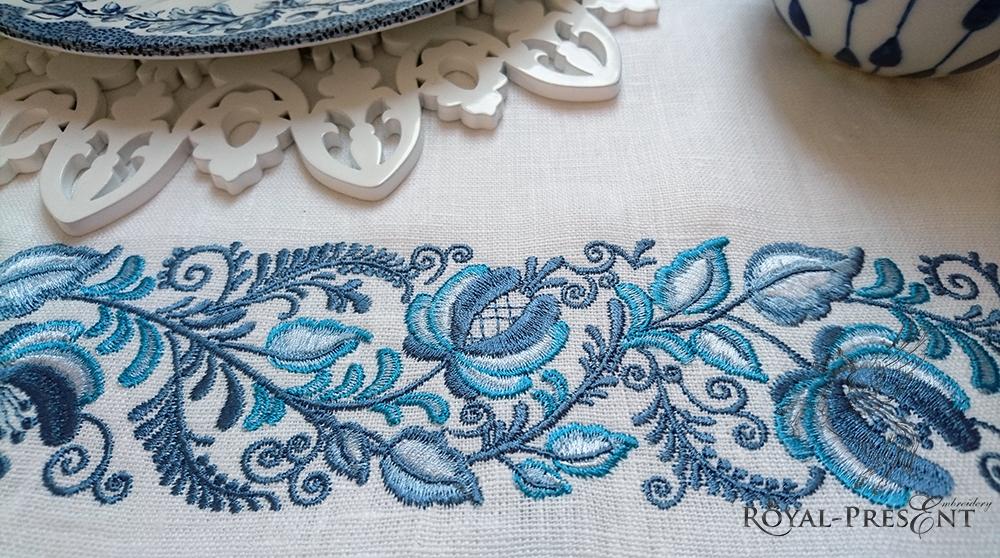 дизайн для машинной вышивки гжель
