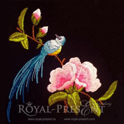 Дизайн машинной вышивки Красивая птичка на ветке магнолии