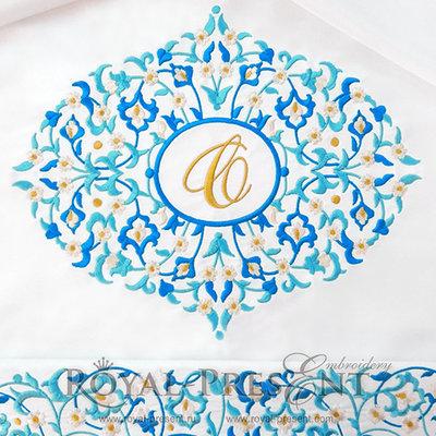 Дизайн машинной вышивки Голубое восточное обрамление для монограммы