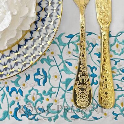 Дизайн для машинной вышивки Восточный голубой бордюр