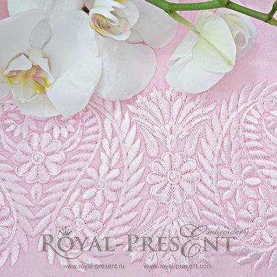 Дизайн машинной вышивки Индийский кружевной бордюр