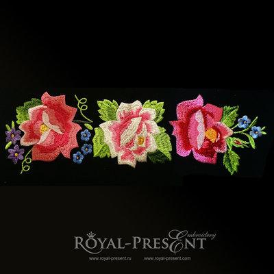 Дизайн машинной вышивки - Бордюр из роз (Польский фольклор)