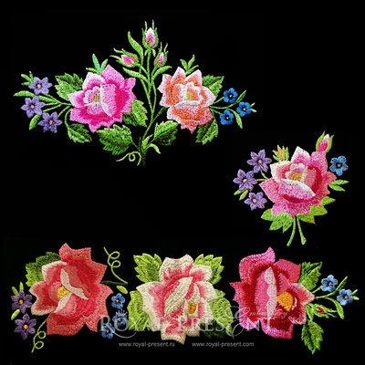 Набор дизайнов машинной вышивки Розы в летнем саду