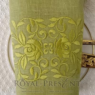 Дизайн машинной вышивки Бордюр розы одноцветные